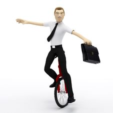 Free Businessman Balancing On Unicycle. Conceptual Busi Stock Photo - 18609540
