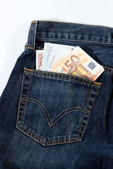 Blue Jeans And Money Stock Image
