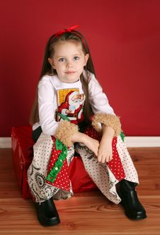 Free Cute Little Girl In Christmas Wear Stock Image - 18612511