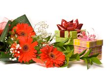 Free Magnificent Bouquet And Present Boxes Royalty Free Stock Photography - 18612547