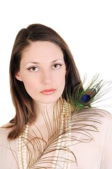 Free Young Woman With A Peacock Feather Stock Images - 18612874