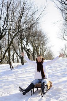 Free Teen Having Fun On Sledge Royalty Free Stock Photography - 18612987
