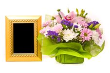 Free Beautiful Bouquet And Golden Frame Stock Photos - 18613003