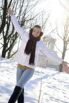 Free Cute Teen Having Fun In Winter Royalty Free Stock Image - 18613026