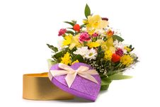 Magnificent Bouquet And Present Box Stock Image