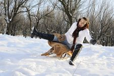 Free Girl Having Fun On Sledge Stock Photography - 18613382
