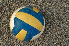 Volleyball On A Gravel Surface Stock Image