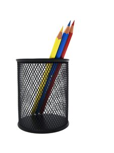 Colored Pencils In A Black Pot Royalty Free Stock Image