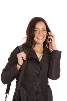 Free Woman Black Jacket Talk Phone Royalty Free Stock Photography - 18614387