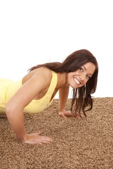 Free Woman Pushup Close Smile Royalty Free Stock Image - 18614436