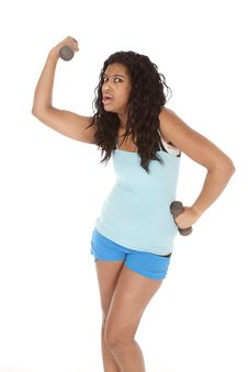 Free African American Woman Lift Weight Royalty Free Stock Images - 18614499