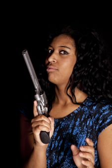 Black Woman Holding Gun Royalty Free Stock Photo
