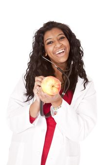 Woman Stethoscope Apple Looking Smiling Stock Images