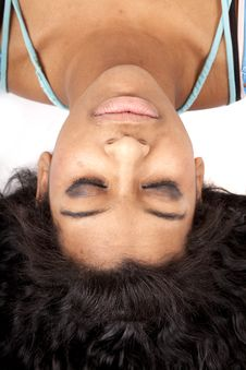Free Woman Upside Down Hair Out Sleep Royalty Free Stock Photos - 18614588