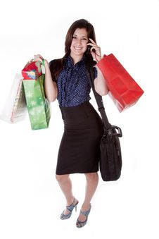 Free Woman On Phone Shopping Royalty Free Stock Image - 18614606