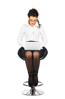 Free Brunette Business Woman With Laptop Royalty Free Stock Photography - 18615277