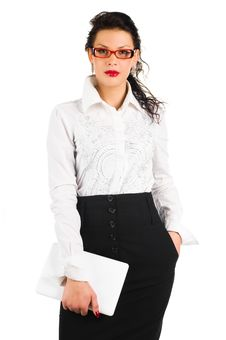Free Brunette Business Woman With Laptop Stock Photography - 18615312