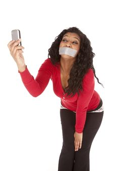 Free African American Mouth Taped Picture Phone Stock Photography - 18615582