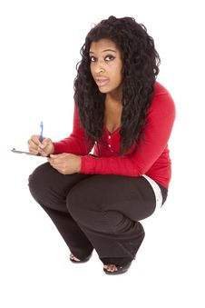 African American Woman Pen Notepad Royalty Free Stock Photo
