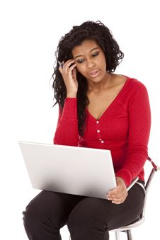 Free African American Woman Thinking Computer Stock Images - 18615614