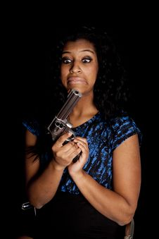 Free African American Woman Funny Face Gun Royalty Free Stock Image - 18615616