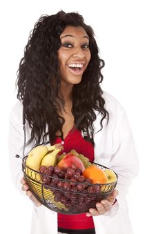 Free Woman With Fruit Basket Very Happy Royalty Free Stock Photo - 18615665