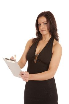 Free Woman Black Dress Clipboard Writing Stock Photo - 18615720