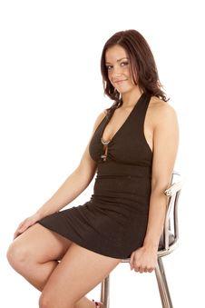 Free Woman Black Dress Smile Sit Stool Royalty Free Stock Photo - 18615725