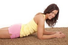 Free Woman In Shorts Laying On Carpet Royalty Free Stock Image - 18615756