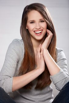 Beautiful Woman On Natural Royalty Free Stock Photography
