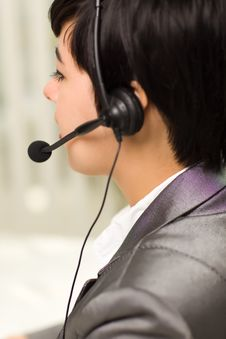 Free Profile Of Young Mixed Race Woman With Headset Stock Photos - 18618243
