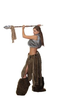 Free Savage Girl With A Spear Royalty Free Stock Image - 18618396