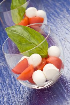 Free Tomato Mozzarella Appetizer In Glass - Caprese Stock Photography - 18618742