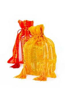 Free Yellow And Red Fabric Bags Royalty Free Stock Image - 18619806