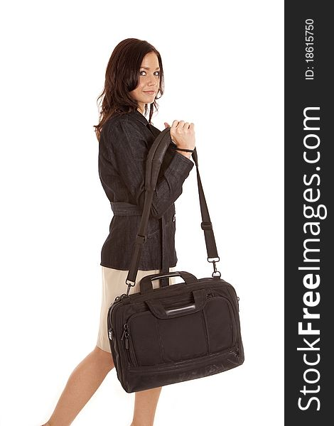Woman in black with bag