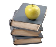Old Books With An Apple Royalty Free Stock Photo
