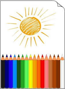 Free Colored Pencils Whit Sun Stock Photos - 18620733