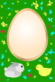Easter Card With Rabbit, Chicken And Flowers Royalty Free Stock Images