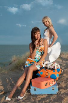Beautiful Girls On The Beach Stock Photos