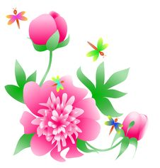 Free Peony Corner With Butterflies Royalty Free Stock Photos - 18624788