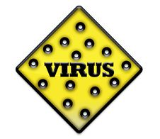 Yellow Virus Sign With Holes Stock Images
