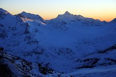 Sundown In Mountains Elbrus Stock Photos