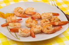 Free Cooked Shrimps On Plate Royalty Free Stock Image - 18626736