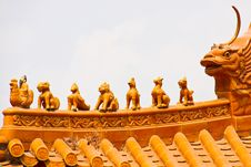 Free Many Imaginary Animals At Temple Roof Royalty Free Stock Image - 18626976