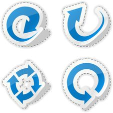 Free Arrow Blue Stickers. Royalty Free Stock Photography - 18629027