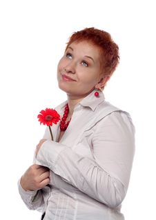 Free Woman With Red Flower Stock Photography - 18629342