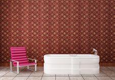 Purple Chair In The Bathroom Stock Photos