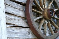 Free Spoked Old Wheel On A Wooden Wall Stock Photography - 18629592