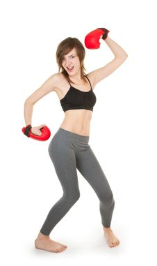 Free Sports Girl With Boxing Gloves Stock Photo - 18629680