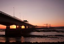 Free Sunset Over Severn Bridge Royalty Free Stock Image - 18629756